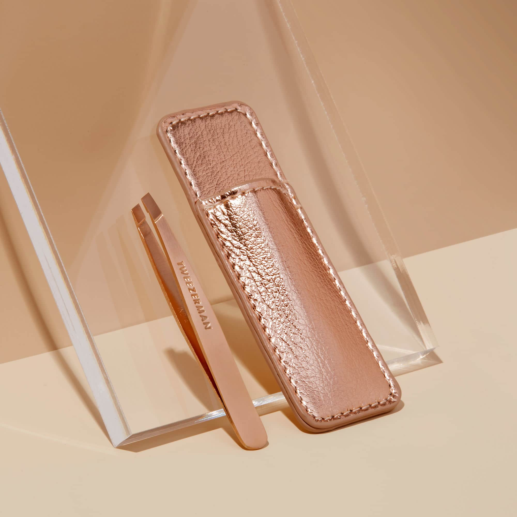Tweezerman Rose Gold Mini Slant Tweezer with Case - Limited Edition